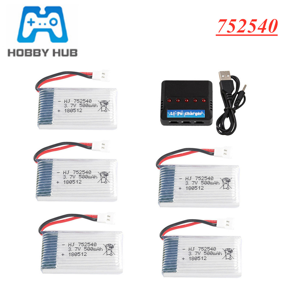 3.7V <font><b>500mAh</b></font> Lipo <font><b>Battery</b></font> + Charger For Syma X5C X5SW M68 Cheerson CX-30 H5C RC Quadrocopter Parts <font><b>3.7</b></font> V <font><b>500mAH</b></font> batería 752540 image