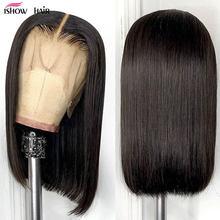 Парик Ishow Blunt Cut Bob, Короткие парики из человеческих волос на сетке спереди, бразильские Прямые бобы, размер 13x4x1, парик на сетке спереди