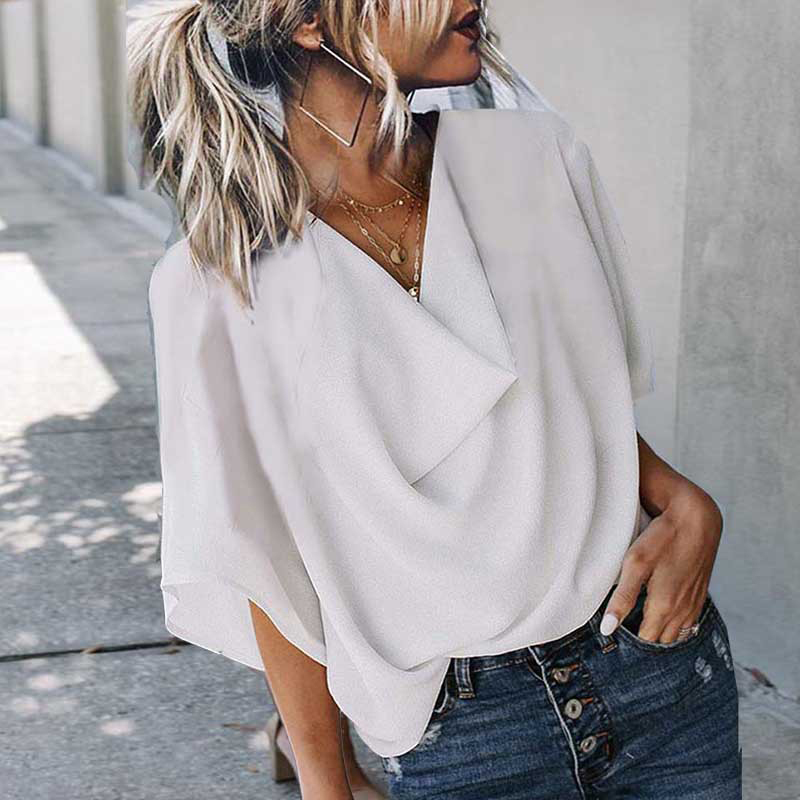 Summer Batwing Half Sleeve Women's Blouses White V-neck Loose Streetwear Blouse Female 2020 Casual Fashion Simple Ladies Tops