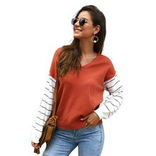 2019 Autumn Winter Womens Sweaters Tops V-neck Long Sleeve Striped Loose Knitted Women Pullovers