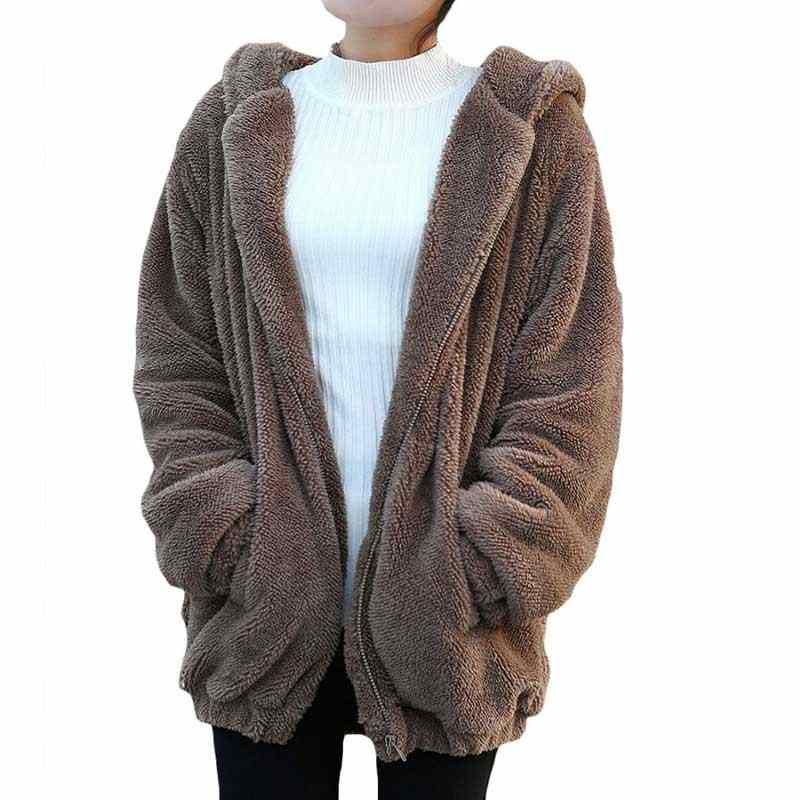 MJARTORIA 2020 ผู้หญิง Hoodies ซิปผู้หญิงฤดูใบไม้ร่วงหลวมหมีหู Hoodie Hooded แจ็คเก็ตอุ่น Outerwear เสื้อน่ารักเสื้อ