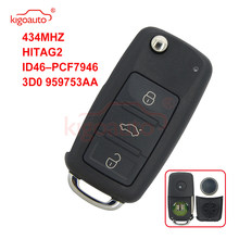 Kigoauto for VW Touareg Remote key 3button 433.9MHZ ASK/FSK HITAG-2 ID46 PCF7946 HU66 3D0 959 753 AA 3D0 959 753 AM
