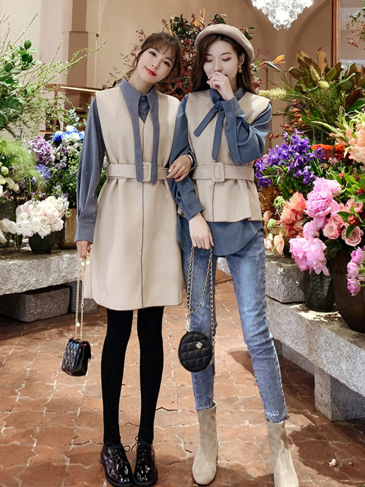 Online Celebrity WOMEN'S Suit Autumn And Winter 2019 New Style Western Style Goddess-Style Royal Sister Shirt Woolen Skirt Hepbu