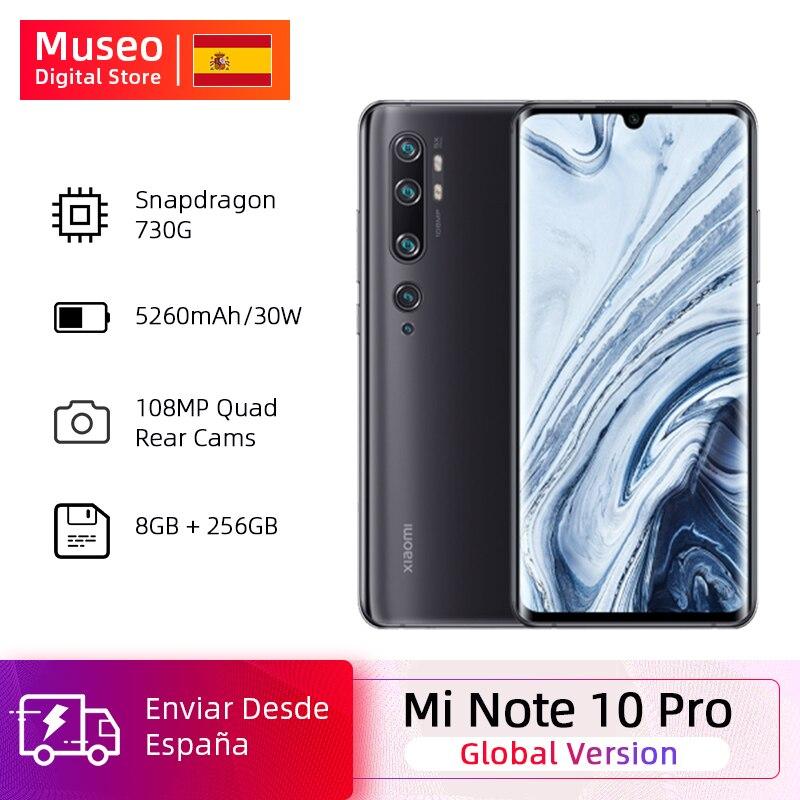 글로벌 버전 Xiaomi Mi Note 10 Pro 8GB RAM 256GB ROM 108MP Penta 카메라 금어초 730G Octacore 핸드폰 6.47 곡선 5260mAh