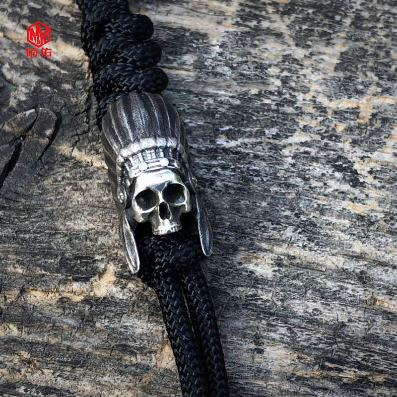 1PC Original à la main 925 argent indien crâne EDC Paracord perles lanière pendentifs couteau perles parapluie corde cordon perles pendentifs - 2
