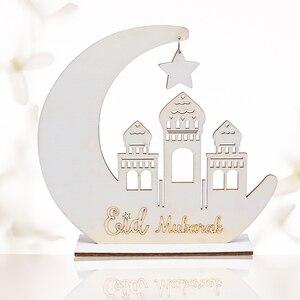 Image 4 - 1pc 크리 에이 티브 이드 무바라크 라마단 나무 문 펜 던 트 장식품 나무 교수형 이슬람 이슬람 라마단 파티 장식 용품 DIY 공예