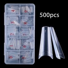 500 sztuk jasne naturalne francuski trumny sztuczne paznokcie paznokcie akrylowe sztuki porady żel UV bardzo elastyczny ABS 100 sztuk fałszywe narzędzia do Manicure