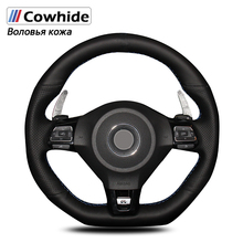 Handsewing Black Genuine Leather Steering Wheel Covers For Volkswagen Golf 6 GTI MK6 VW Polo GTI Scirocco R Passat CC R Line
