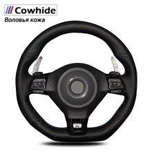 Manevra siyah hakiki deri direksiyon kapakları için Volkswagen Golf 6 GTI MK6 VW Polo GTI Scirocco R Passat CC R Line