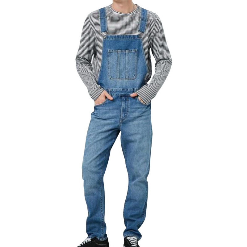 SHUJIN Men Denim Pant Overall One Piece Full Length Ripped Jeans Jumpsuits Men Slim Casual Jeans Overalls Pant Pantalon Homme