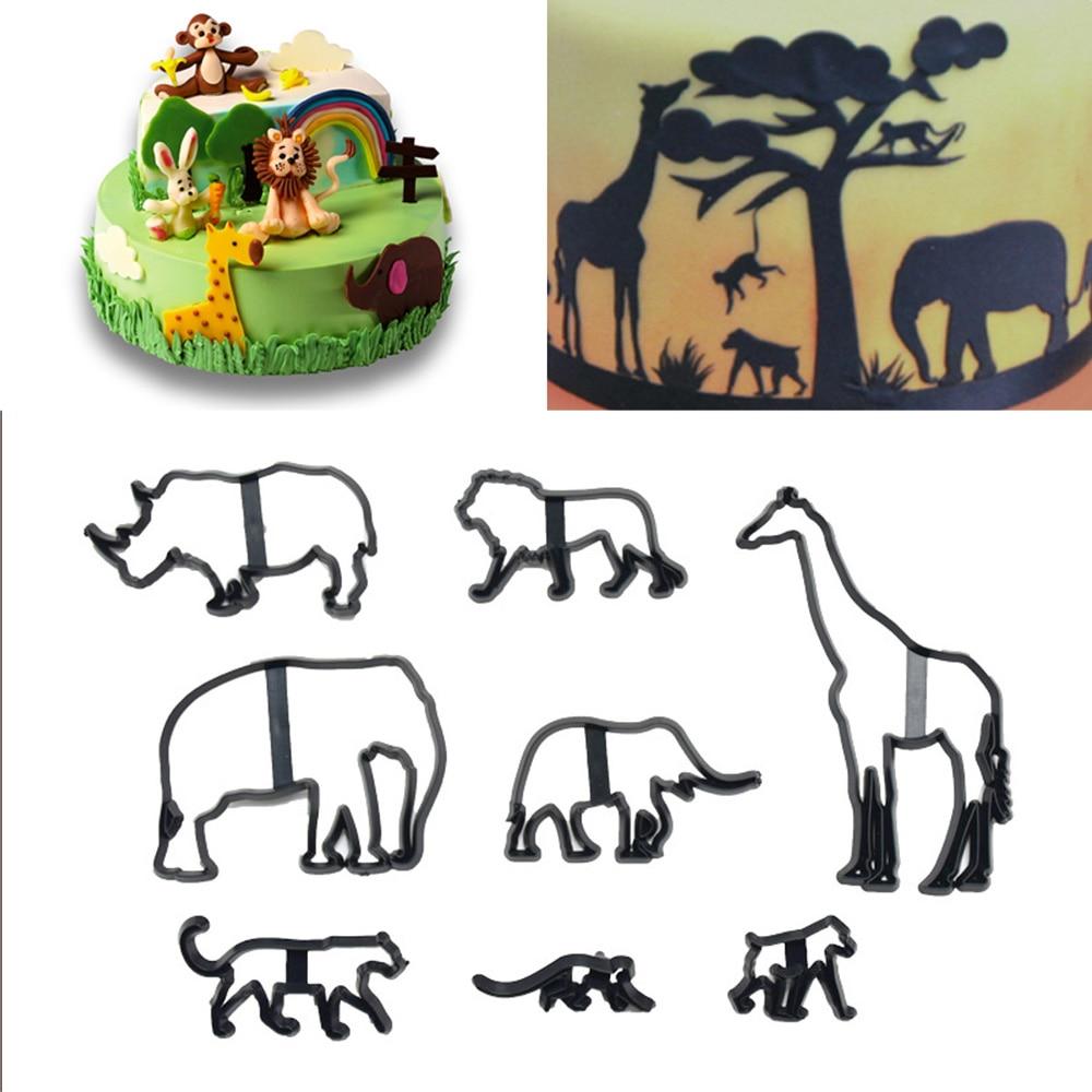 8Pcs Animal Cookie Cutter Plastic Elephant Lion Giraffe Leopard Fondant Cutter Safari Silhouette Cake Mold Bake Decorating Tools