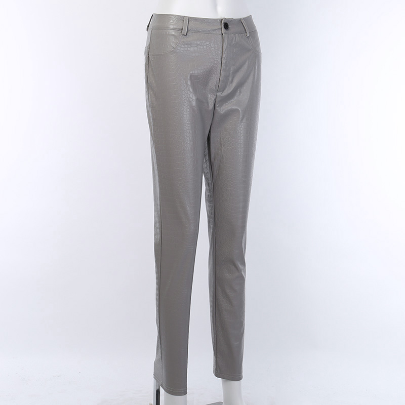 InstaHot Black High Waist Pencil Faux Leather Pants Women Casual Elegant Carving Print Ankle Length Pants Streetwear Trousers 55