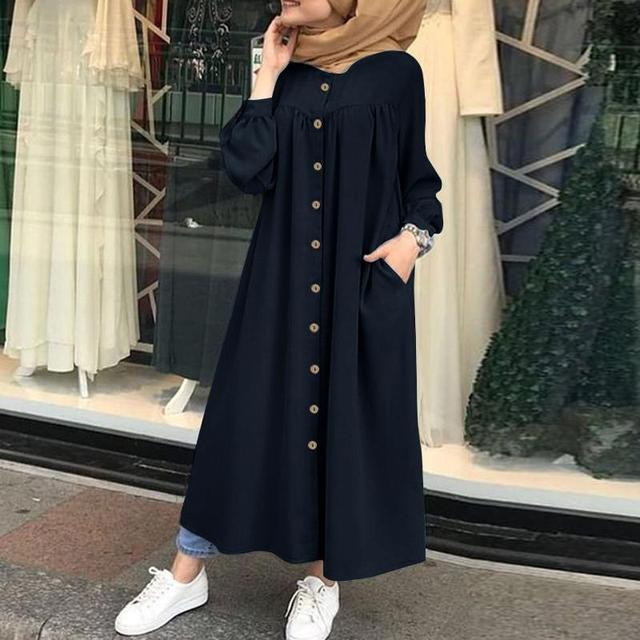 Plus Size Muslim Dresses 2020 Woman Shirt Dress Long Sleeve Maxi Vestidos Female Button Robe High Wasit Solid Sundress 2