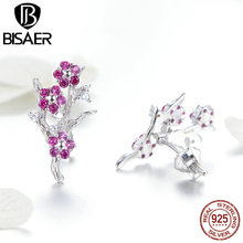 BISAER High Quality  925 Sterling Silver Trendy  Red Wintersweet Stud Earring For Women Making Fashion Jewelry Gift HVE040 new fashion high quality super shiny zircon 925 sterling silver stud earring for women jewelry wholesale gift oorbellen