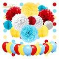 Nicrolandee material de festa de carnaval balão pom poms favo de mel bola pendurado guirlanda banner para circo crianças decorações de festa
