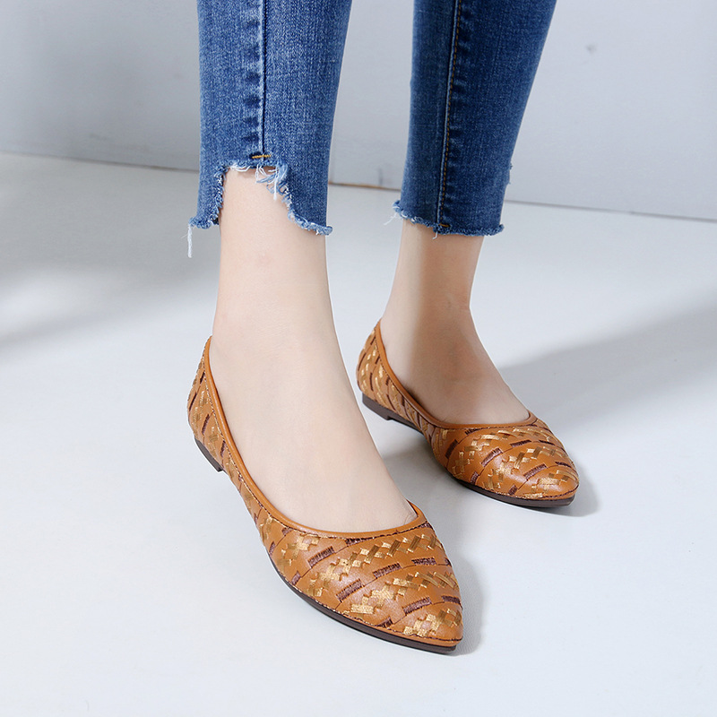 Female Flats Pointed-Shoes Casual-Shoes Spring Women Moccasins Bohemian-Style Fashion