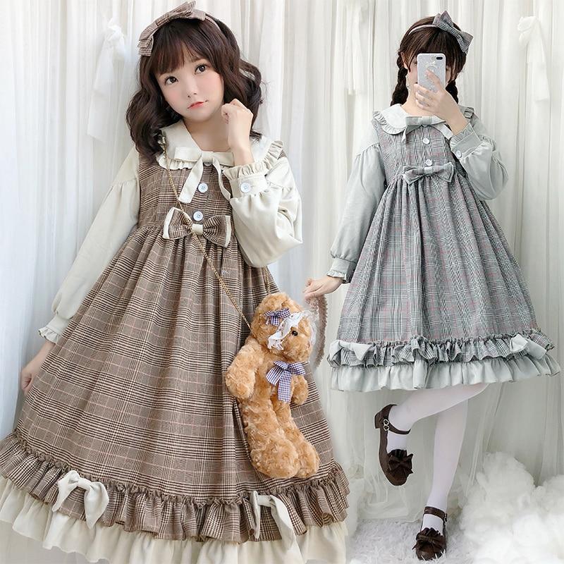 Sweet Lolita Dress Vintage Peter Pan Collar Bowknot High Waist Short/long Sleeve Lattice Victorian Dress Kawaii Girl Loli Cos
