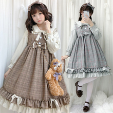 цена на Sweet lolita dress vintage peter pan collar bowknot high waist short/long sleeve lattice victorian dress kawaii girl loli cos