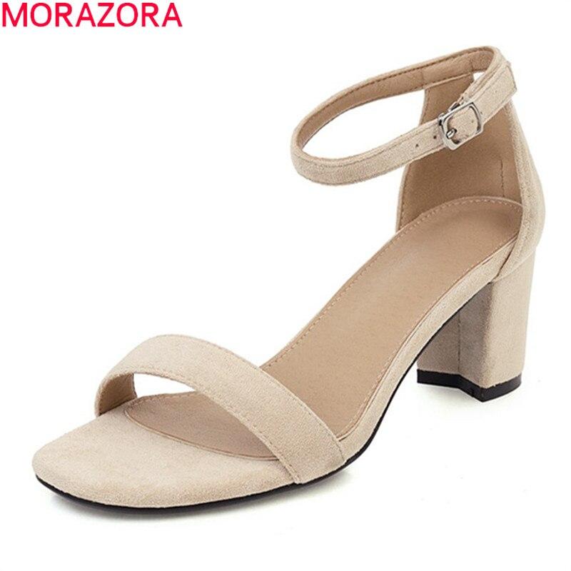 Morazora 2020 nova chegada verão sandálias de salto alto confortável rebanho fivela moda feminina bombas vestido sapatos tamanho grande 34-43