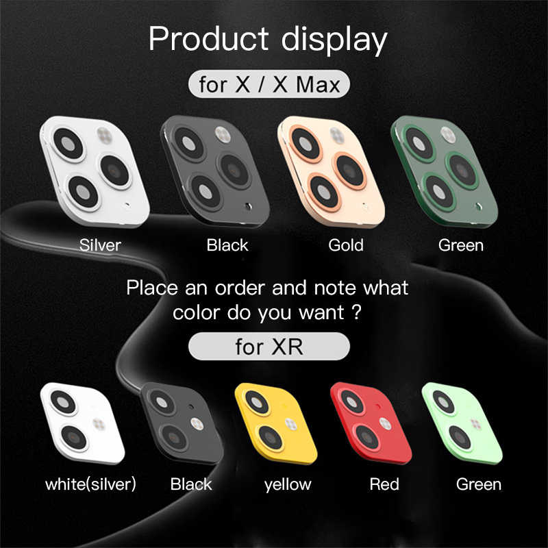 新しい高級カメラレンズスクリーンプロテクター秒変更 iphone 11 プロマックス iphone XR X XS 最大ステッカーフェイクカメラ