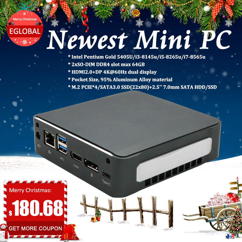 2019 Новый Eglobal Мини ПК i7-8565U I5-8265U I3-8145U 2 * DDR4 Оперативная память NVME M.2 SSD карман Nuc ПК Windows 10 Pro Тип-c 4K HDMI2.0 DP