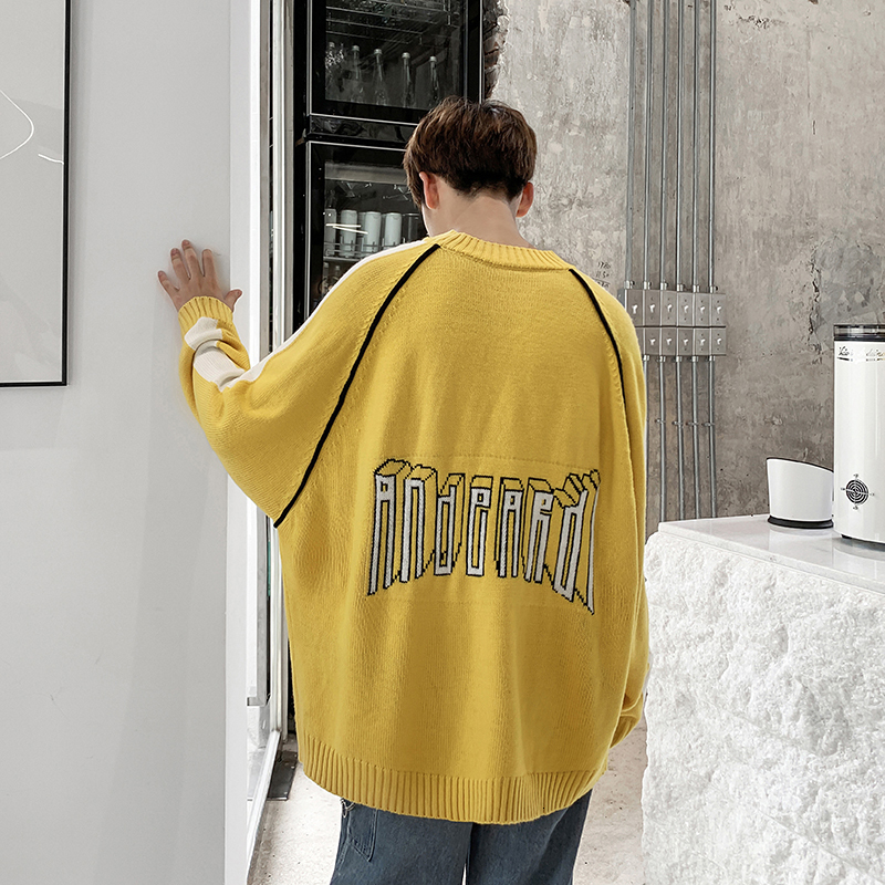 UYUK2109 Autumn And Winter New Stitching Youth Temperament Casual Fashion Wild Trend Korean Version Of Knitted Men's  Sweaters