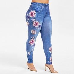 Plus Size Floral 3D Print Skinny Jeggings Elastic High Waist Floral Print Skinny Women Leggings Fintness Long Pants 2019