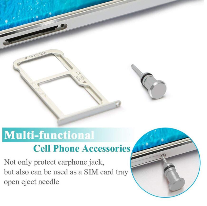Metal Type C Charging Port 3 5mm Earphone Port Dust Plug for Android Micro USB iPhone 7 8 Phone Samsung S9 S8 Redmi note7 in Dust Plug from Cellphones Telecommunications