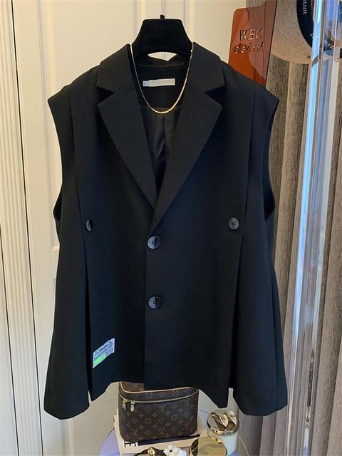 [EWQ] Simple Fashion Trend Ladies Vest Black Office Ladies Clothing 2021 Summer New  Letter Pleated Suit Collar Coats 16W1598 4