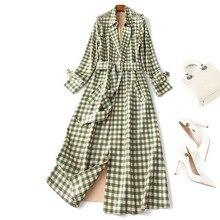 Fashion womens plaid Trench coat 2019 autumn high quality women elegant faux suede overcoat windbreaker  A904