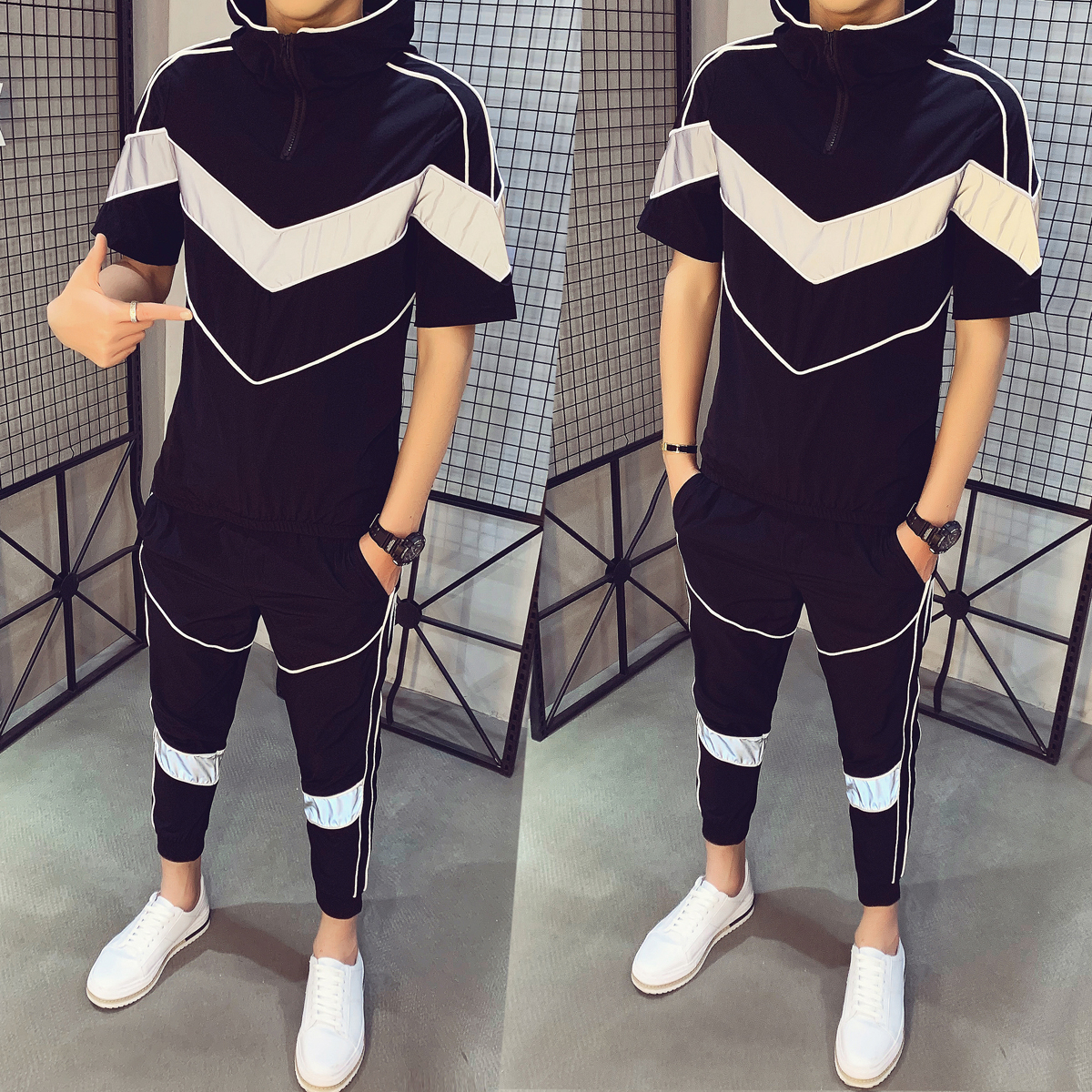 Causal Hip Hop Set Men Short Sleeve Hooded T-shirt + Pant Moda Hombre Spring Tracksuit Men Personality Print Track Suit 2 Pieces
