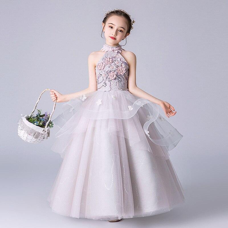 2019 New Fairy Fluffy Princess Dress Children Catwalk Piano Performance Show Evening Gown