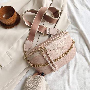 Retro Waist Bag PU Leather Fanny Pack Shoulder Bag Ladies Alligator Pattern Waist Pack Women Belt Bag Multifunctional Chest Bag 9