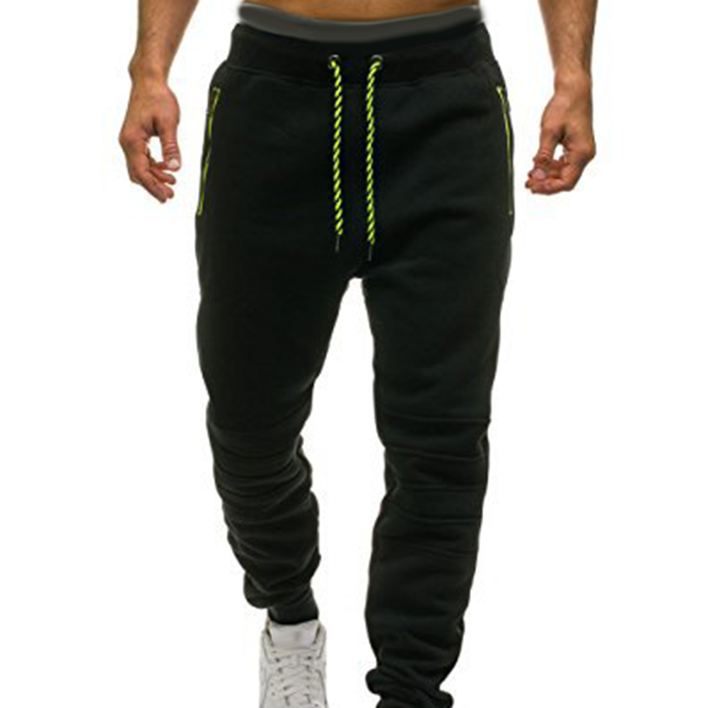 Мужские спортивные штаны для бега с карманом на молнии, цветные подходящие спортивные брюки для тренировок, эластичные брюки для бега, спортзала - Цвет: Черный