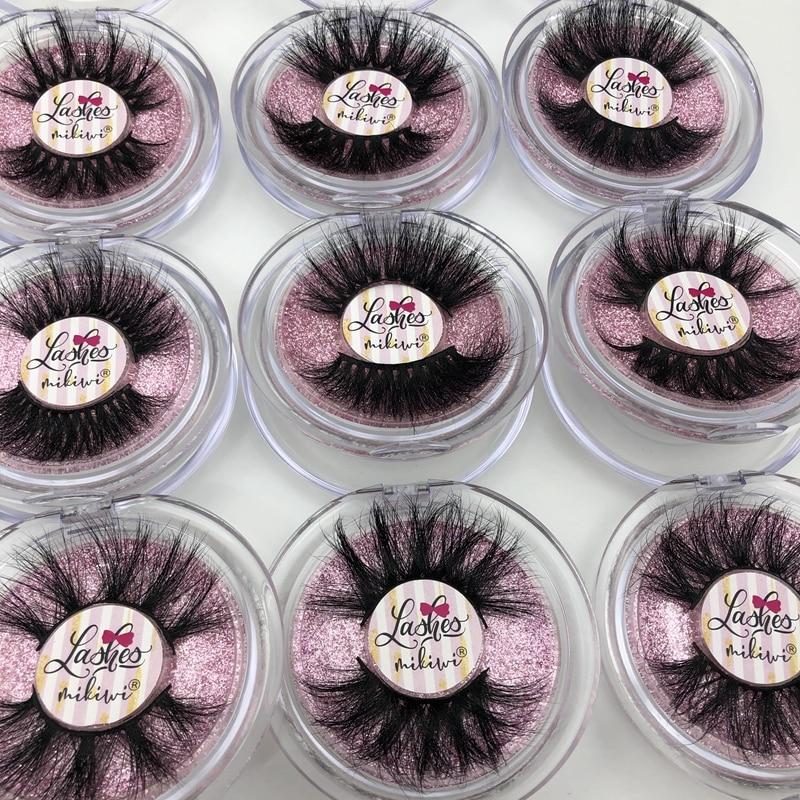 Mikiwi 25mm Mink Eyelashes 20/30/50 Wholesale 3D Mink Lashes Round Case Custom Packaging Label Makeup Free Logo Long Mink Lashes