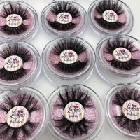 Mikiwi 25mm Mink Eyelashes 20/30/50 Wholesale 3D Mink Lashes round case custom packaging Label Makeup Free Logo Long Mink Lashes