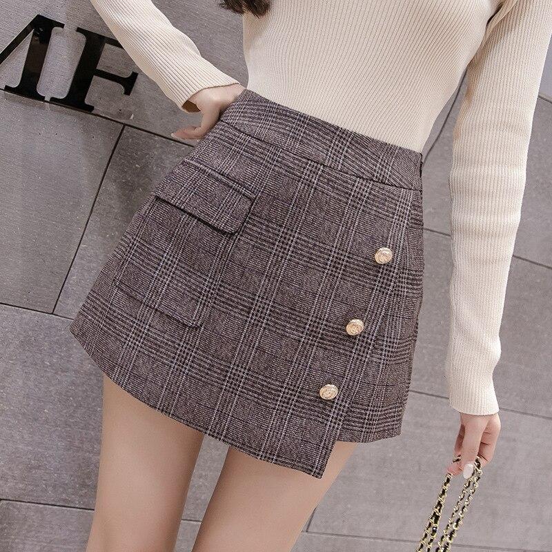 Autumn Pocket Wool Warm Winter Shorts Women 2020 Slim Fashion Button Plaid Skirt For Women Retro Women Plus Size Mini Skirts