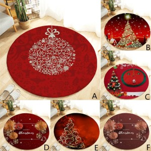 2020 Christmas Carpet Round Winter Snow Trees Waterproof Home Doormat Kitchen Mat Hall Rug Baby Gym Activity New Year Gift