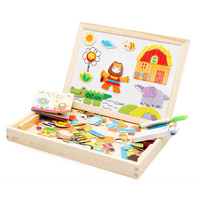 Kids Wooden Jigsaw Puzzle Toys Animals Multifunction Baby Painting Magnetic Puzzle Board Children Educational Games Montessori