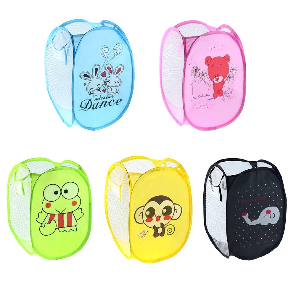 1 Uds cesta de lavandería cesta de clasificación de dibujos animados cesto de almacenaje de ropa plegable niños organizador Almacenamiento de juguetes Almacenamiento en casa