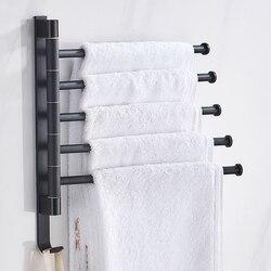 Toalha de banho Espaço Alumínio Suporte de Toalha de Rack Rotatable 2/3/4/5-Bar Gancho de Toalha Prateleira Da Cozinha Papel hanging Wall Mounted