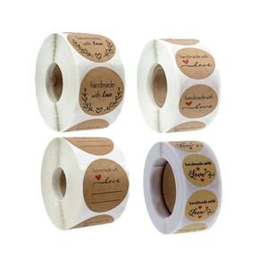 500PCS Round Natural Kraft Thank You with heart Sticker Seal Labes Hand Made with Love Sticker Paper Scrapbook Sticker