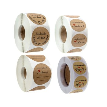 500PCS Round Natural Kraft Thank You with heart Sticker Seal Labes Hand Made Love Paper Scrapbook