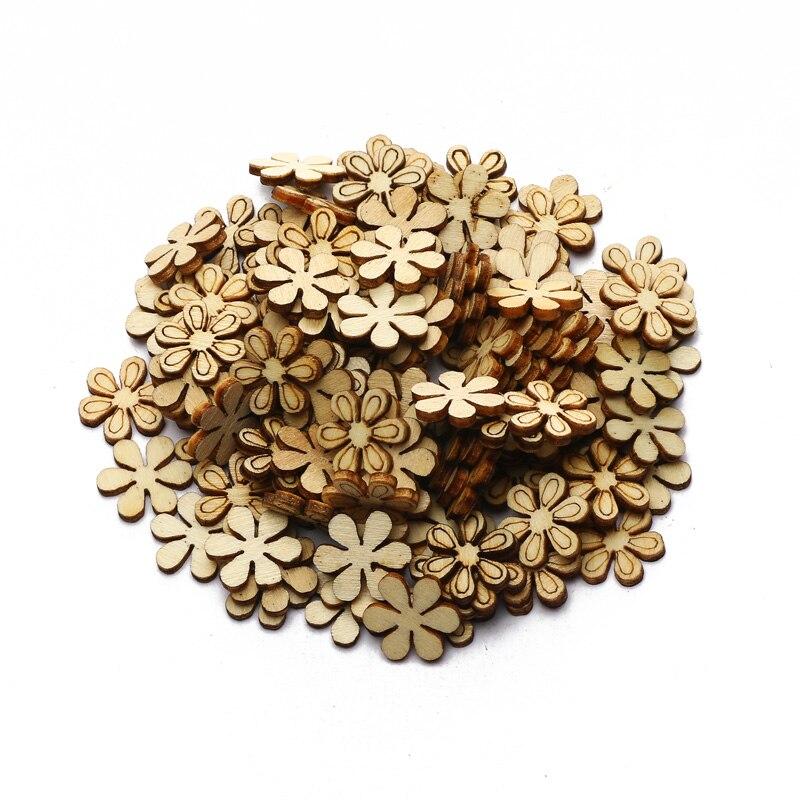 Adornos de madera hechos a mano para el hogar, artesanías de 11mm para rodajas de flores, decoración de madera para álbum de recortes, 100 Uds.