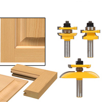 3Pcs/set 1/4 Milling Cutter Tools Shank Bit Raised Panel Cabinet Door Router Bit Sets Rounded Corner Knives Engraving SL