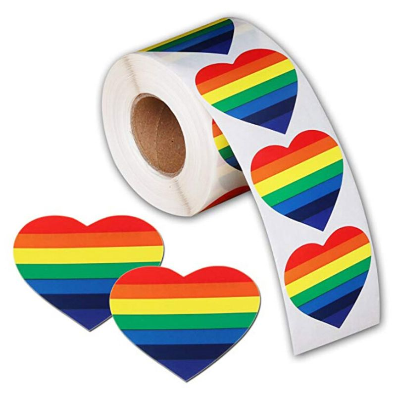 Trendy 500 Love Rainbow Ribbon Stickers Gay Pride 6 Color Stripes Heart Shape Roll Tape