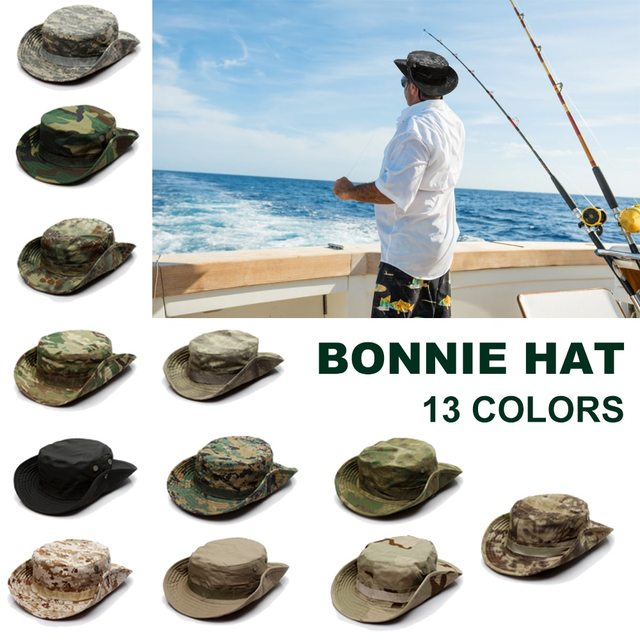 Camouflage Tactical Cap Military Boonie Hat US Army Caps Camo Men Outdoor Sports Sun Bucket Cap Fishing Hiking Hunting Hats 60CM 2