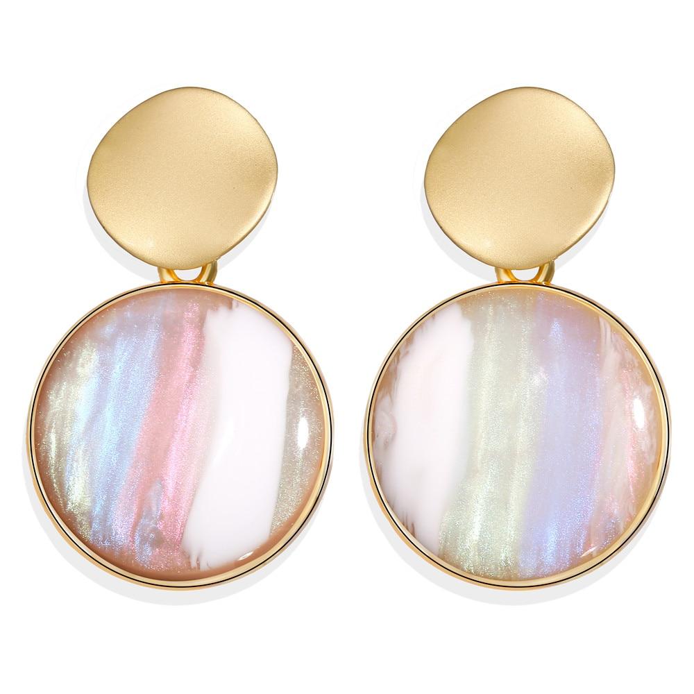 2019 Fashion Earrings Gold Drop Earrings For Women Round Shell Acrylic Geometric Earring Brincos Ethnic Vintage