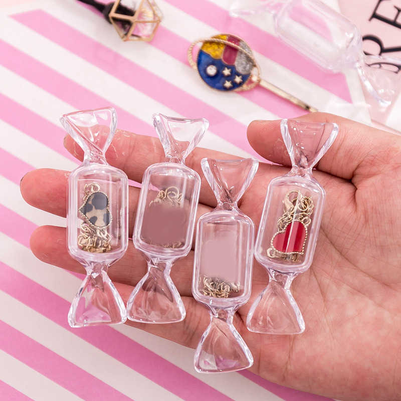 Transparent Jewelry Pill Case Organizer Candy Shape MakeUp Storage Box Girls Mini Portable Earrings Cosmetic Bag Beauty Case New