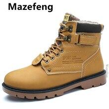 Зимние мужские ботинки; ботильоны из искусственной кожи; мужские кроссовки на шнуровке; теплые водонепроницаемые зимние мотоциклетные ботинки; Плюшевые ботинки; Zapatos De Hombre